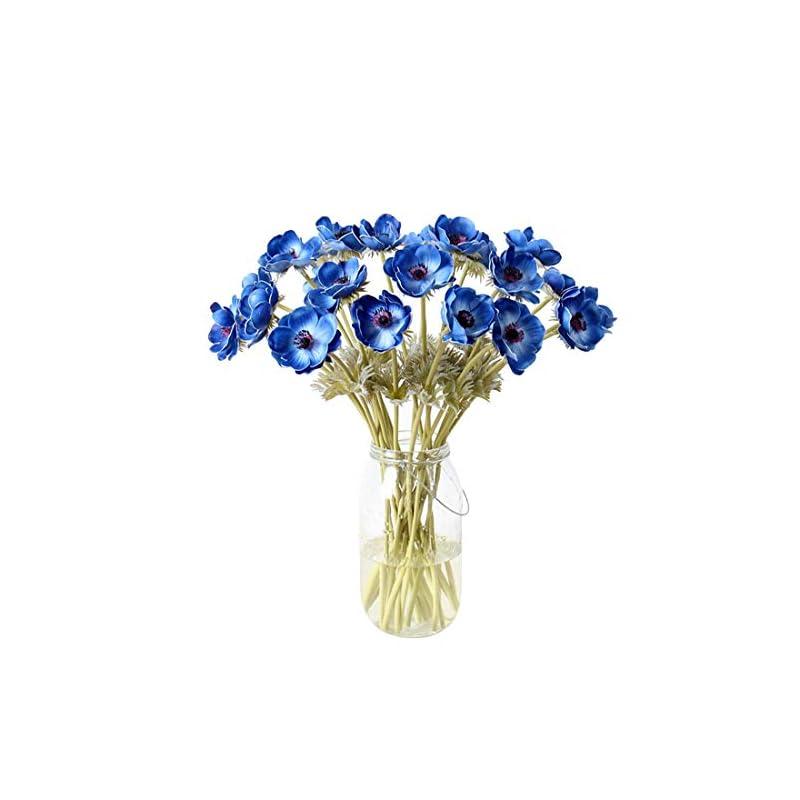 silk flower arrangements calcifer 5 pcs 51 cm pu anemone artificial flowers bridal holding flowers bouquet home garden wedding party wall living room decoration (blue)