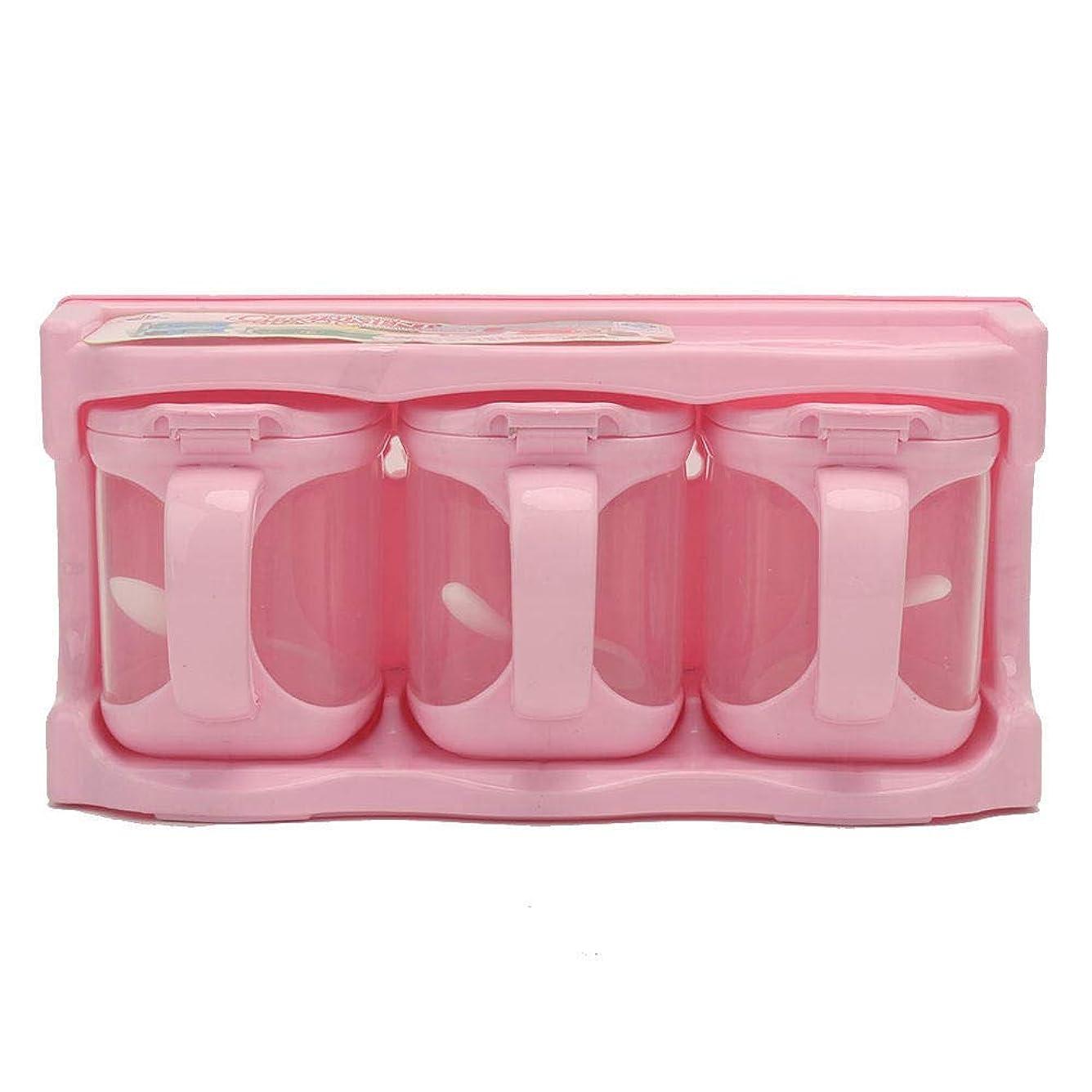 先史時代の休戦おもてなしRefaxi 3コンパートメントプラスチック調味料収納ボックス(ピンク)
