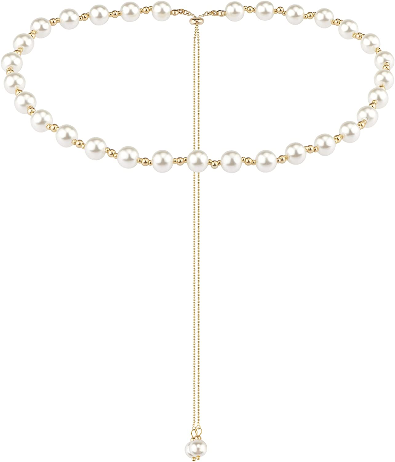 Cecillia Pearl Necklace for Women Pearl Choker Necklace Round Pearl Wedding Necklace with Heart Fashion Jewelry