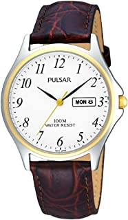 Pulsar PXF294X1 Gent's Analogue Brown Leather Strap Watch