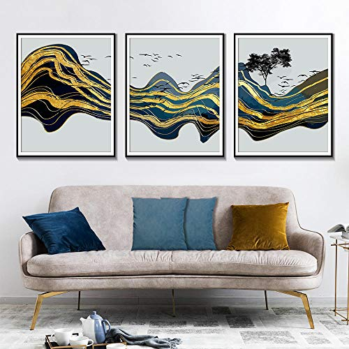 Abstract Gold Mountain Wall Art Canvas Schilderij, Aquarel Vogelboek Home Decoratie Posters en Prints 50x70cmx3 geen Frame