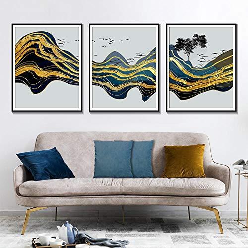 Abstracte goud-bergwandkunst schilderkunst aquarel vogel-boek Scandinavische kunst hoofddecoratie-affiches en prints 40x50cmx3 niet ingelijst