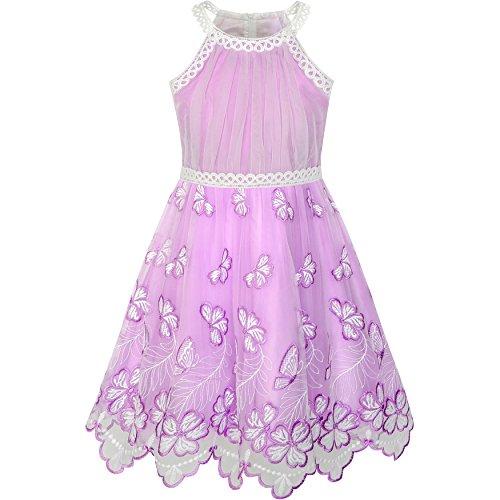 Sunny Fashion Mädchen Kleid Lila Schmetterling Gestickt Halfter Kleid Party Gr. 116