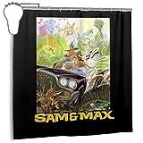 GSEGSEG Wasserdichter Polyester-Duschvorhang Sam and Max Game Cover Druck dekorativer Badezimmer-Vorhang mit Haken, 183 x 183 cm