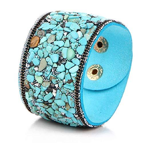 ICHQ Armband, 1x Mode Breites Leder Armband im Punk-Stil Vintage Kristallkies Armbänder Schmuck Geschenk Zubehör 19 * 4cm (Himmelblau)