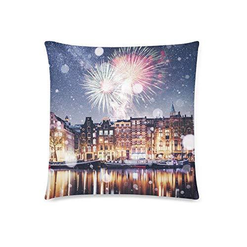 GOSMAO Hermosa Noche en Amsterdam con Funda de Almohada Decorativa de Fuegos Artificiales Coloridos, 18 x 18 Pulgadas, Protector de Funda de Almohada Decorativa