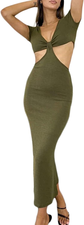 Yoawdats Summer Sexy Hollow Out Y2K Dress for Women Low Cut V-Neck Backless Bodycon Long Maxi Dress Streewear Beachwear