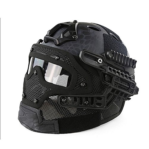 Eleganter taktischer Helm G4 System Overall Protection Face Mask Goggle Multifunktions Airsoft Helme Militär Paintball WarGame, Schwarz