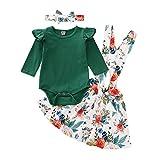 URMAGIC Conjunto de falda para bebé niña con mangas con volantes, pelele + falda de flores de algodón para verano verde 6-12 Meses