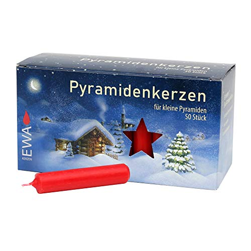 Dekohelden24 50er Pyramidenkerzen, Ø 14 mm x Länge 7,4 cm in rot inkl.1 gratis Ersatztülle dazu.