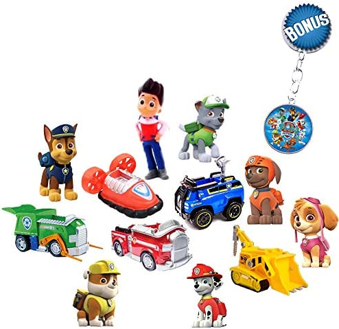 Paw Patrol Mini Figurines Deluxe Set of 12 Cupcake Toppers Premium Party Favors for Kids Toddler product image