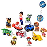 Paw Patrol Mini Figurines – Deluxe Set of 12 Cupcake Toppers – Premium Party Favors for Kids – Toddler Cartoon Action Figures + Paw Patrol Keychain – Fun Toys Featuring Ryder, Marshall & Chase