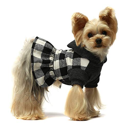 Fitwarm Knitted Plaid Dog Dress Hoodie Sweatshirts Pet Clothes Sweater Coats Cat Outfits Pink Large