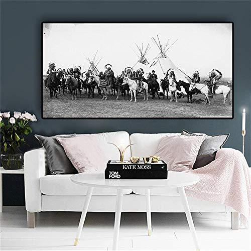 Cuadro de pared escandinavo en blanco y negro con diseño de indios sobre caballo, para sala de estar, sin marco (70 x 140 cm)