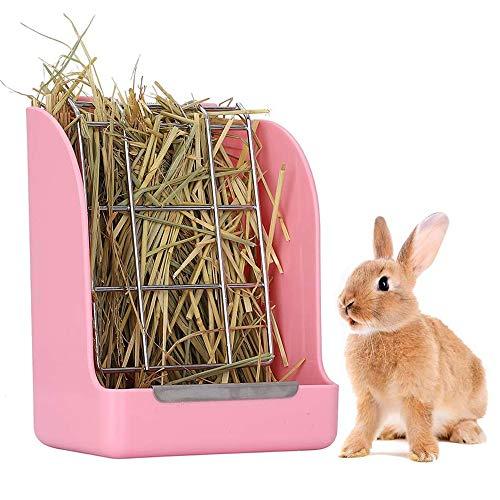 Yhuasia Comedero de Heno, Jaula para Heno para Conejos, Comedero Heno para Conejo, Alimentador de Heno, para Conejos, Conejillo de Indias, Chinchilla, Animales Pequeños, Alimentación de heno (Rosa)