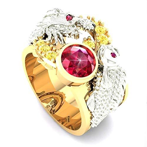 Anillo de dragón brillante con incrustaciones de cristal rojo y diamantes de imitación únicos anillos de dragón 3D elegantes regalos de fiesta góticos Punk de Hip Hop para hombres (9)