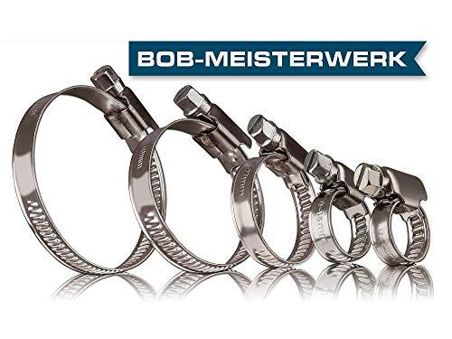 BOB-MEISTERWERK- Profi Schlauchschellen Set aus Edelstahl in W4 und W2 Qualität, 8-50 mm, 20 Stück - Klemmschellen, Ohrschellen, Profi Rohrschellen für Waschmaschine - V2A - 9MM Breite.
