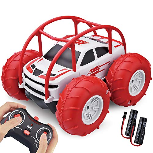 Remote Control Car, Amphibious Waterproof RC Car Toy - Rechargeable 4WD Off Road Water&Land RC Stunt Car with Colorful Lights 360°Flip RC Racing for Kids Aged 3-12 Years for Christmas Birthday Gifts
