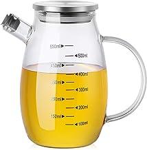 Glass Olive Oil Dispenser Bottle, ZDZDZ Vinegar Dispensing Glass Cruets with Lid, 18oz Leak proof Vinegar Bottles for Kitc...