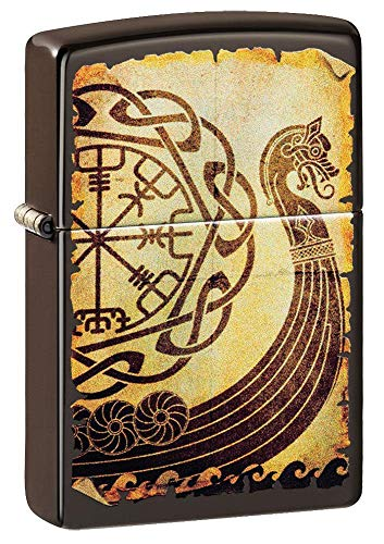 Zippo Viking Warship Design Brown Matte Pocket Lighter, Brown Viking Warship, One Size