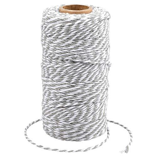 G2PLUS 100M Grau und Weiß Baumwolle Schnur, Bäcker Bindfäden Bastelschnur Dekokordel Schnur Perfekt für DIY Kunstgewerbe Gartenarbeit