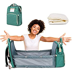 5 in 1 Baby Changing Station Portable Foldable Bed with Mattress Portable Travel Bassinets Bed Pad for Toddler Large Capacity Mommy Nappy Organizer,Breast Pump Backpack