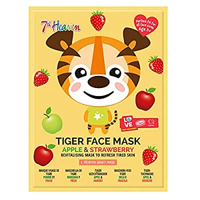 7th Heaven Tiger Face Sheet Mask with Apple and Strawberry to Revitalise and Refresh Tired Skin by Montagne Jeunesse