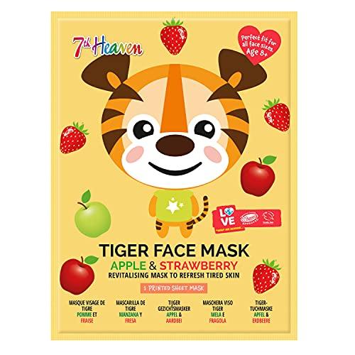 Montagne Jeunesse - Mascarilla Facial - 7th Heaven Mascarilla de Tela Animal Mask - Revitalizante - Ingredientes Naturales - Estampado de Tigre - Crema Hidratante Facial Mujer