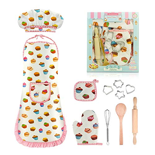 Tesoky Kids Cooking Set, 11 Pcs Birthday Gifts for 3-6 Year Old Girls Chef Role Play Includes Apron for Girls, Chef Hat, Cooking Mitt, Utensils, Festival Toys for 3-6 Year Old Girls (White)