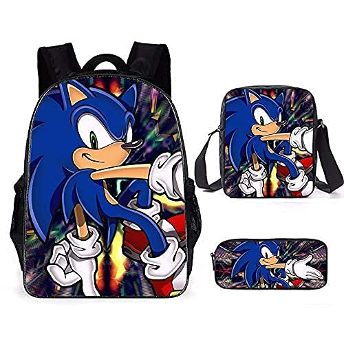 Sonic The Hedgehog Mochila para niños, 3 piezas de bolsas escolares para niños y niñas, mochila ligera para niños (mochila+bolsa de mensajería+bolsa de papelería), g, Medium,