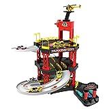 HOMCOM Juego de Garaje Infantil Parking para Niños de +3 Años con 55 Accesorios Incluidos 4 Coches 1 Helicóptero Elevador Funcional 62x52x51 cm Rojo Negro