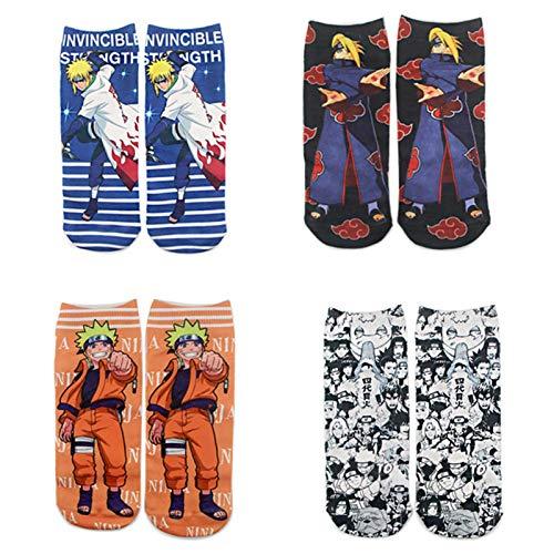 Saicowordist Naruto Socken, Cartoon-Anime-Charaktere, farbig bedruckt, Baumwolle, Unisex, kurze Socken, Geschenk für Anime-Fans Gr. Medium, 4 Paar