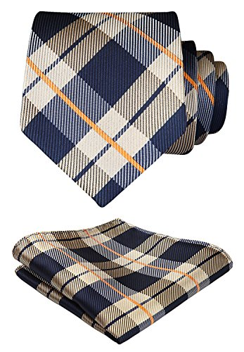 HISDERN Herren Krawatte Taschentuch Check Krawatte & Einstecktuch Set Braun & Marineblau