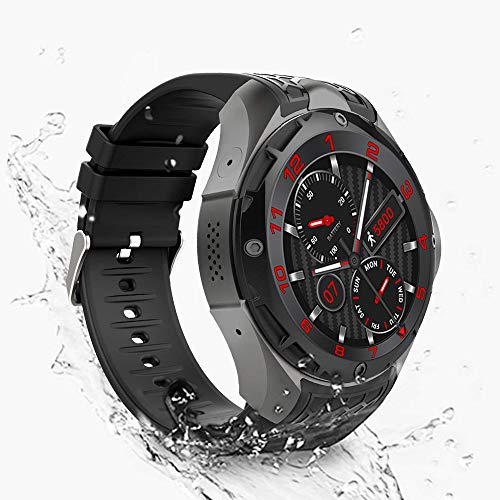 Smartwatch Phone,Sport IP67 Waterproof 3G Smart Watch Men Compatible Android iPhone Fitness app,Heart Rate Monitor Support Sim GPS/WiFi Built-in 2g RAM 16g ROM (Black)