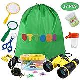 UTTORA Fernglas Kinder, Draussen Forscherset für Kinder 17 Stück Spielzeug Set mit Bug Catcher Pinzette Insect Viewer Kompass Lupe & Schmetterlingsnetz für Camping und Outdoor-Sport