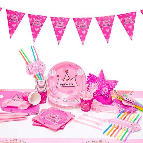 Kingmate 102-Teiliges Geburtstagsset Pink Krone Party Set für 20 Personen Geburtstagsdeko Tischdeko, Pappteller, Pappbecher, Servietten, Geburtstag Augenklappen, Tischdecke.