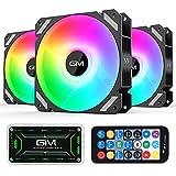 GIM KB-28 Moonlight RGB Ventilador, paquete de 3 ventiladores ARGB de 120 mm con refrigeración silenciosa para computadora, ventilador de PC con sincronización de placa base RGB de 5V y 3 PIN, negro