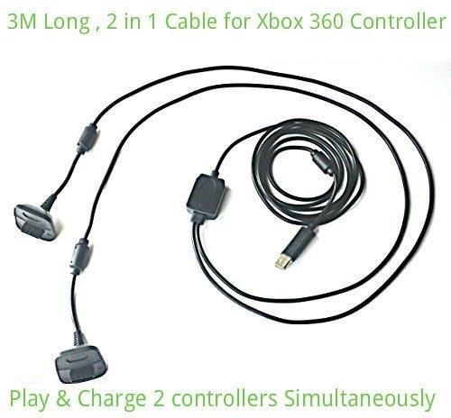 Airbot Gioco 2 in 1 USB e cavo di ricarica per Xbox 360 Controller Pad Gamepad Joypad Joystick 3M lungo