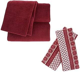 Berkshire Blanket Polarfleece Sheet Set (Full, Burgundy Fair Isle)
