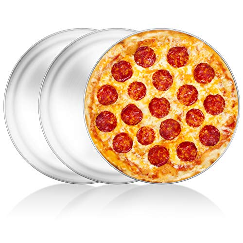 Pizza Pan Set of 3, Yododo Stainless Steel Pizza Pie Pan Tray Platter Pizza Tray, Round Pizza Dish Plate For Oven Baking, Healthy Metal Pizza Baking Cooking Pan for Oven - Size of 12 inch
