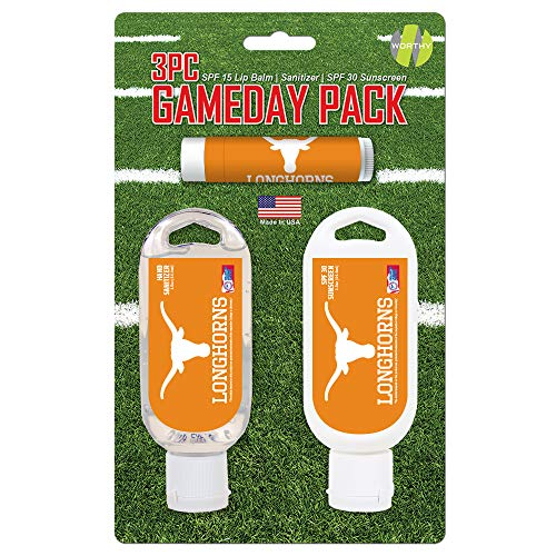 Worthy Promo NCAA Texas Longhorns Game Day Pack Includes 1 Lip Balm, 1 Hand Sanitizer and 1 SPF Sunscreen (3-Piece), 8 x 5 x 1.5-Inch, White
