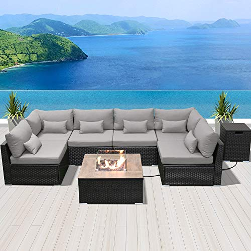DINELI Patio Furniture Sectional Sofa with Gas Fire Pit Table Outdoor Patio Furniture Sets Propane Fire Pit (Light Gray - Square firepit)