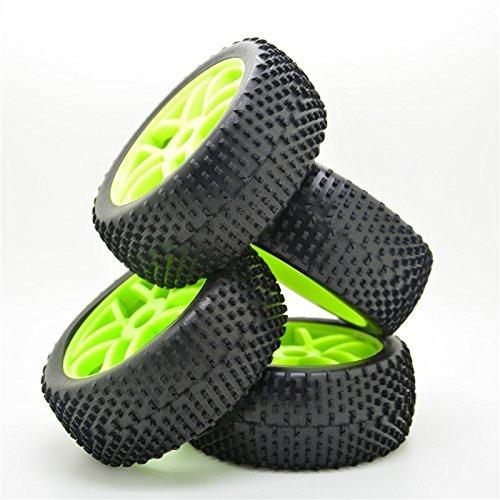 Pxyelec 17 mm Nabe, Felge und Reifen, Maßstab 1:8, Offroad-RC-Auto-Buggy-Reifen, Grün, 4 Stück