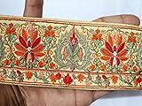 Indische Seide Flora Stoff orange schöne Farbe bestickte
