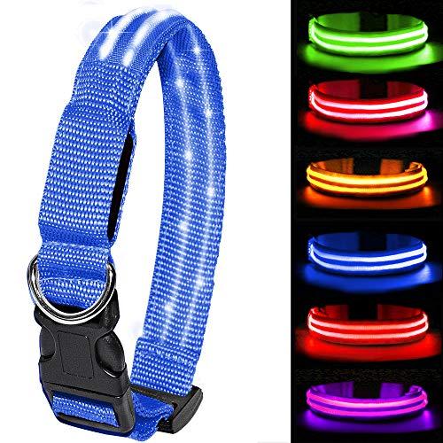 MELERIO LED Leuchthalsband für Hunde USB Aufladbar LED Hundehalsband Stück hundehalsband Leuchtend Wiederaufladbares und Längenverstellbareres mit DREI Beleuchtungsmodi (S, Blau)