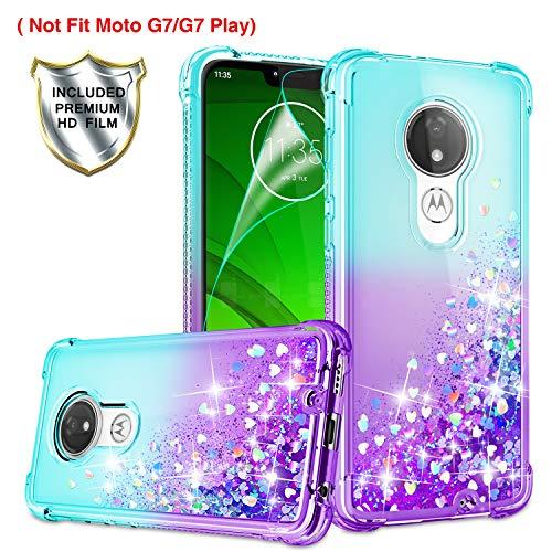 Moto G7 Power Case, Moto G7 Optimo Maxx XT1955DL/Moto G7 Supra Case with HD Screen Protector for Girls Women, Gritup Cute Clear Gradient Glitter Liquid TPU Phone Case for Motorola G7 Power Teal/Purple