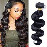 Meche Bresilienne Tissage Bresilien Ondule Extensions Cheveux Naturel Pas Cher #1B Noir Naturel 100g - Grade 7A - Virgin Human Hair Brazilian Hair 1 Bundle - 10 Pouces/25cm