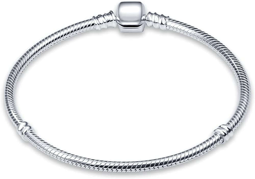 Max 62% OFF KUNSIR Snake Safety and trust Bracelet for Charms, 925 silver Barre sterling