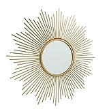 CasaJame Espejo solar redondo dorado con marco de metal, espejo de pared de sol, mediterráneo, objeto de pared vintage, antiguo, 50 cm