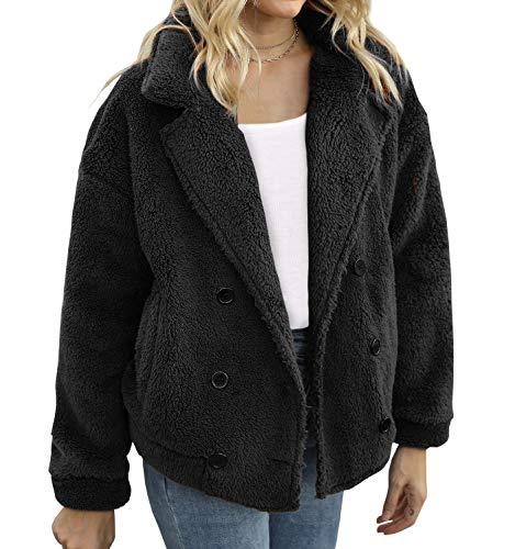 FANCYINN Abrigo de Solapa de Invierno para Mujer Chaqueta de Doble Botonadura de Piel sintética con Bolsillos Abrigo de Invierno cálido con Frente Abierto para Mujer Negro